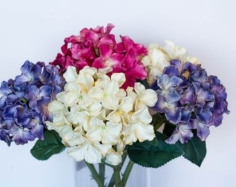 Large Real Touch Hydrangea Artificial Flower Wedding Bouquet, Floral Arrangement Centerpiece, Home Deco, Blue/Purple/Magenta/Pink/Light Pink