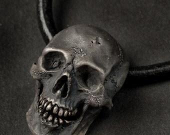 Skull Pendant, Vintage Finish, Skull Necklace, Silver Skull Pendant,