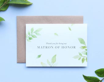 Thank you Matron of Honor Card/Botanical Matron of Honor Card/Matron of Honor/Floral Matron of Honor Card/Watercolour Matron of Honor Card