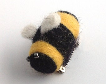 """Needle Felted Brooch of a Bee,  """"Bumblebee"""" Handmade, Cute, Handmade Brooch, Great Gift For Her or Him, Brown, Grey,"""