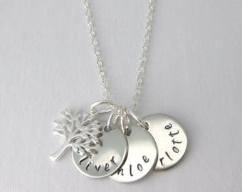Personalised With 2 or 3 Names Hand Stamped Family Tree Necklace Gift