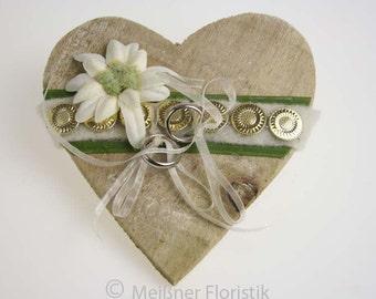 """Wooden heart """"Edelweiß"""" ring pillow"""