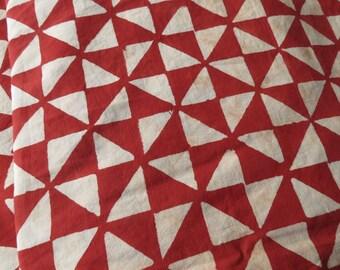 Red Triangle Cotton Block Print Fabric
