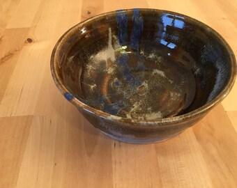 Handmade Ceramic Pasta Bowl / Blue/Brown Salad Bowl / Handmade Fruit Bowl/ Handmade Pottery/ Colourful Bowl/ Ornamental Bowl/ Tableware