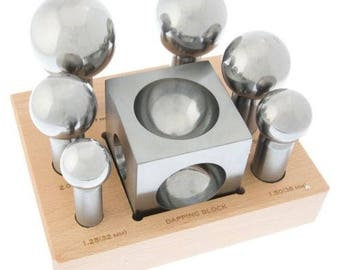 Large Dapping Punches Set & Forming Block Doming Steel For Jewelry Silversmith (20 Lb. M BOX)
