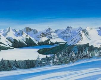 Maligne Lake, original oil painting on canvas