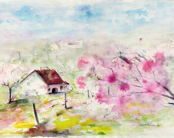 Original  painting of farm with blossoming cherry trees in France,original watercolor painting of french landscape and pink blossoming trees