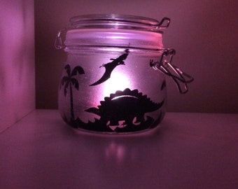 Colour changing Dinosaur frosted glitter jar