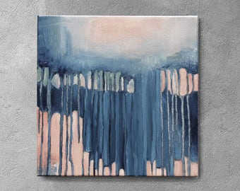 Art,  small abstract, navy blue and peach  painting, 12x12 , Original textured , blue and pink ,  Abstract Artwork, LIGHT BLUE, light green