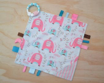 Taggie, Crinkle Sound, Sensory, Activity, Teething, Minky Blanket- Pink Elephants