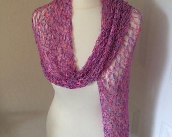 Handmade by Mrs Smith Silky Pink & Purple Wrap /Scarf