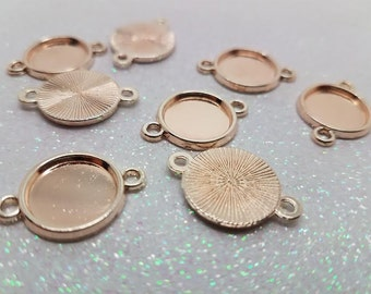 12mm Rose Gold Round Connector Cabochon Tray Setting - 10 Pcs