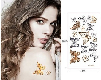 Butterflies #3 - Temporary Tattoos // Metallic // Gold // Cool // Summer // Party // Gifts