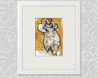 Modern art painting drawing / abstract figurative expressive image