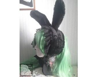 Black Fur Headdress with rabbit ears