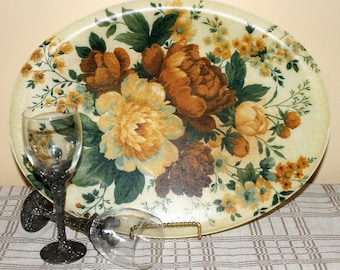 Large Vintage Oval Floral Fiberglass Serving Tray, Heat & Stain Resistant Molded Dining Platter with Flower Design, Keswick Made in England