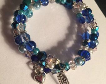 Blue tone memory wire bracelet