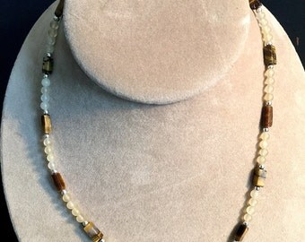 "Yellow Jade, Tiger Eye, Labradorite 18 1/2"" Gemstone Necklace"