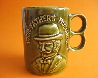 """Vintage ceramic mug green """"YOUR FATHER'S MUSTACHE"""""""