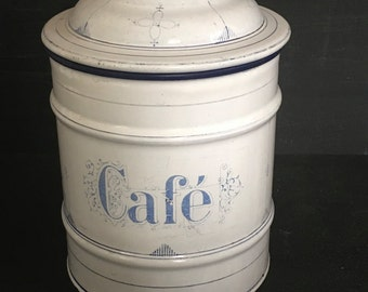 French Enamelware Coffee Lidded Storage Jar Blue and White Cannisetr Labelled Cafe