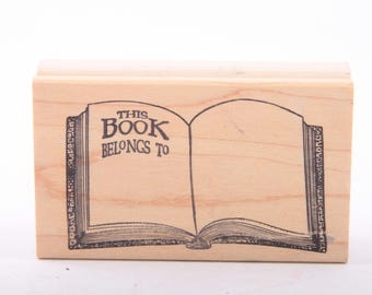 This Book Belongs To, Label, Name, Book, Single Stamp, Vintage Rubber Stamp ~ 161002A