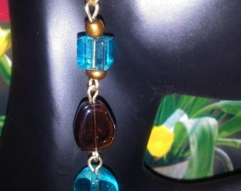 Chocolate and Turquoise Dangle Earrings