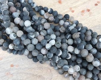 8mm Druzy Agate, Black Druzy Agate, Round Beads, Gemstone Beads, Mala Beads Supply,