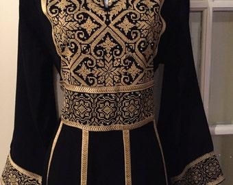 Stunning Royal dress / Abaya / Tobe / Thobe / kaftan with Golden Palestinian Cross Stitch / Embroidery