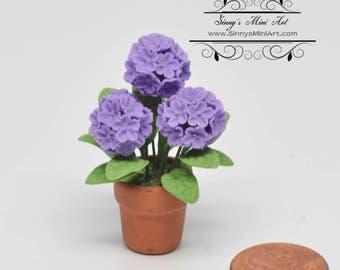 1:12 Dollhouse Miniature Hydrangeas in Clay Pot/ Miniature Flower/ Miniature Gardening BD A1074