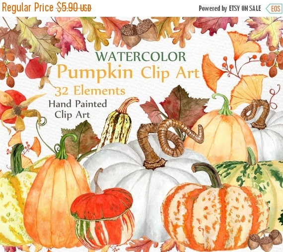 On Sale 30 Watercolor Pumpkin Clipart Quot Autumn Clipart