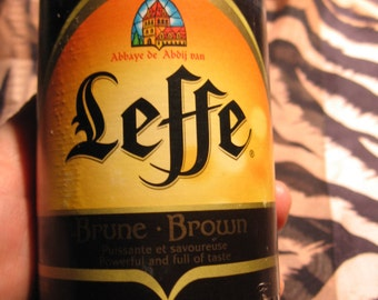 Hand Poured Candle in Handmade Upcycled Belgian Beer Leffe Brown, Handmade Can with Sparkling Edge, Nice Gift for Him
