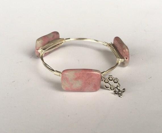 Clearance Sale, Pink bangle, Pink and white bangle bracelet, Wire wrapped bangle, handmade bangle, bridesmaid gift, jasper bangle bracelet