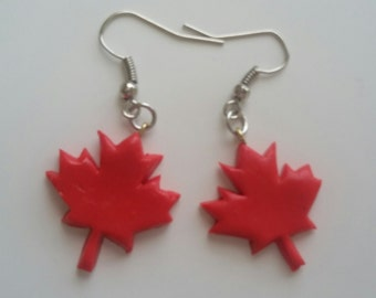 Maple Leaf Polymer Clay Earrings