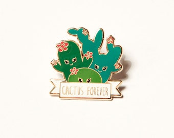 Cactus familie forever gold hard enamel Kawaii pin