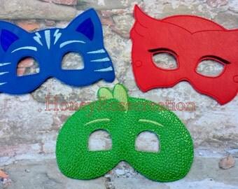 Owl,Cat,Dino Felt Mask. Embroidered mask