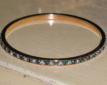 Vintage Faceted Green & Clear Rhinestone Crystal Mirror Goldtone Inlay Channel Bangle Bracelet