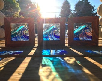 Handmade Stained Glass Waves in Frame