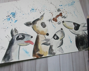 Dog original painting, bull terriers, English bull terriers, dog watercolour, dog painting, watercolour art, dog illustration