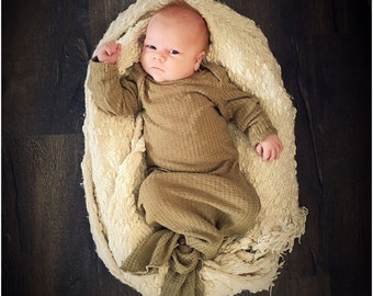 Gender neutral baby gown, knotted baby gown, olive green waffle knit, baby boy gown, baby gowns, knotted gown.
