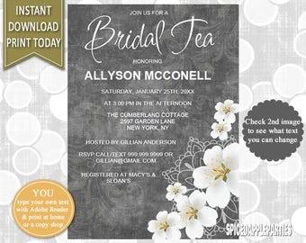 Bridal Shower   Bridal Tea, Tea Party, Bridal Shower Invite, Bridal Tea Party, Bridal Tea Invite, Printable, Invitation, Bridal Shower Tea