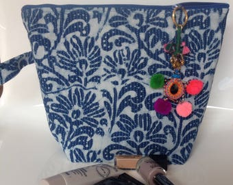Toiletry, travel pouch fabric kantha indigo