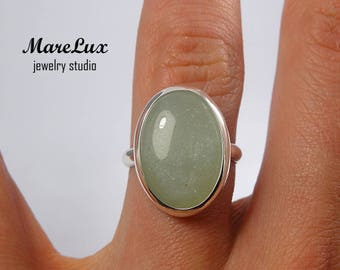 Natural White Agate Cabochon Ring, Oval Genuine White Agate 14K Rose Gold Plated or 24K Yellow Gold Plated Ring Silver or Gold White Ring