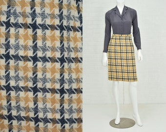 1960s Vintage Women's 2 to 4 Houndstooth Wool Pencil Skirt High Waist Secretary Darlene