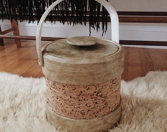 Cork Ice Bucket, Kraftware Barware, taupe Ice Bucket, mid century ice bucket