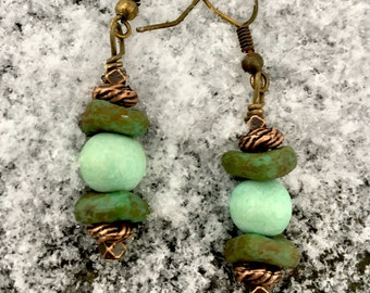 Boho Earrings, Mint Green Earrings, Hippie Earrings, Dangle Earrings, Unique Earrings