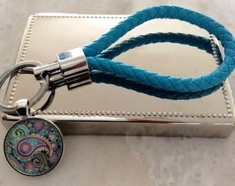 AQUABLUE/ Leather key holder with pendent/ PASTEL PAYSLEY