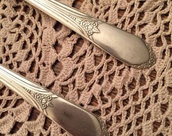 RARE Silver Forks, 2 Silver Wedding Forks, Silver Dessert Forks, WM Rogers Eagle Star Stamp, Wedding Cake Forks, Pretty Forks, Dessert Forks
