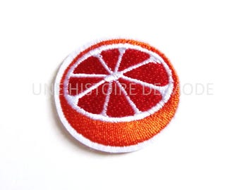 Patch fusible fruit orange sew or iron 40 x 37 mm - orange embroidery applique - orange fruit patch