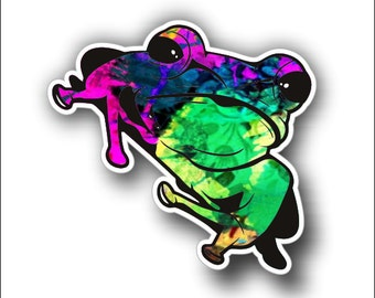 hot pink/green tree frog sticker / decal **Free Shipping**