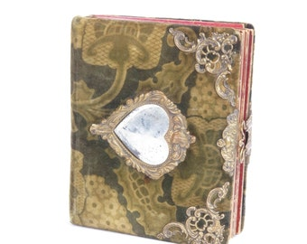 Antique photo album Victorian cabinet cards family children babies heart as is